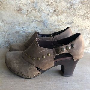 DANSKO Brown Leather Heeled Clogs Size 38